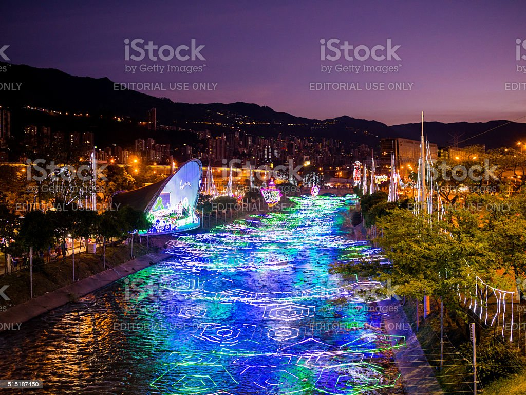 Christmas light show in Medellin, Colombia stock photo