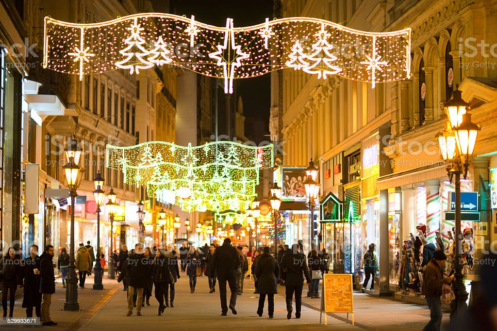 Christmas lighting decoration of the main street stock photo