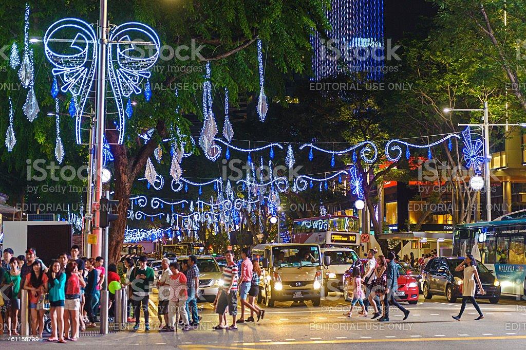 Christmas lightings along Orchard Road stock photo