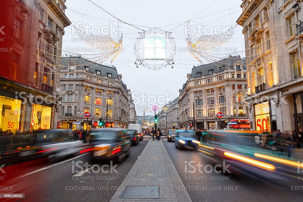 Christmas lights and decorations on Regent Street, London. stock photo