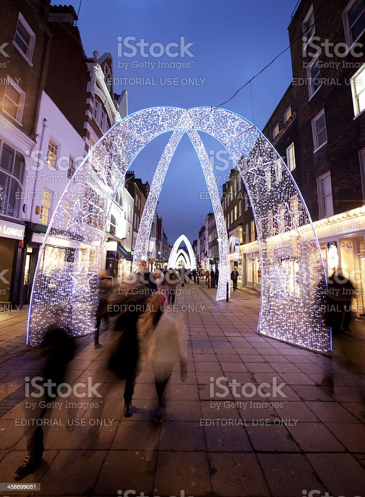 Christmas lights and shoppers on South Molton Street, London stock photo
