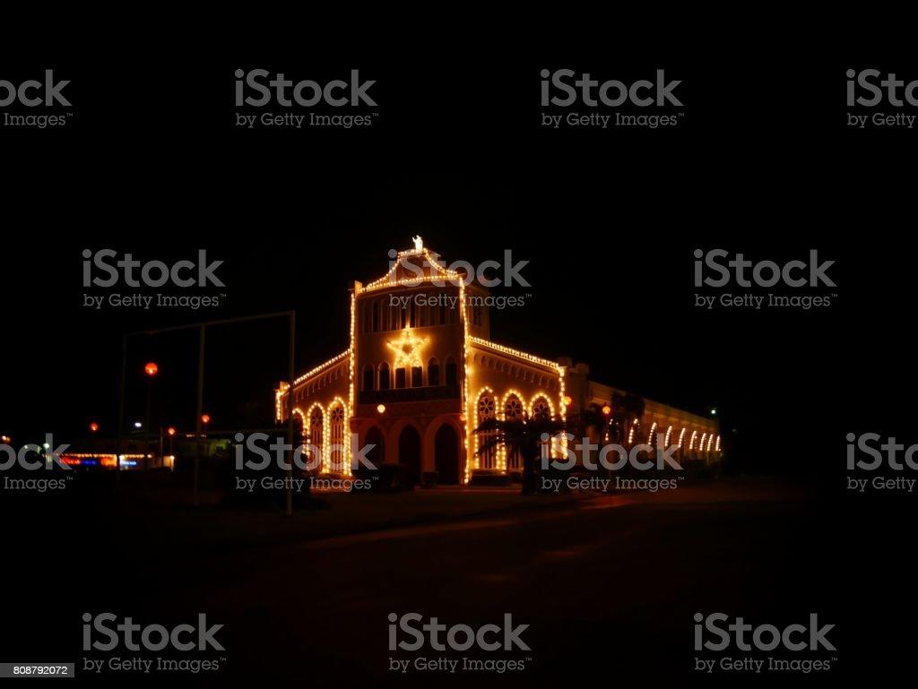 Christmas lights around the church stock photo
