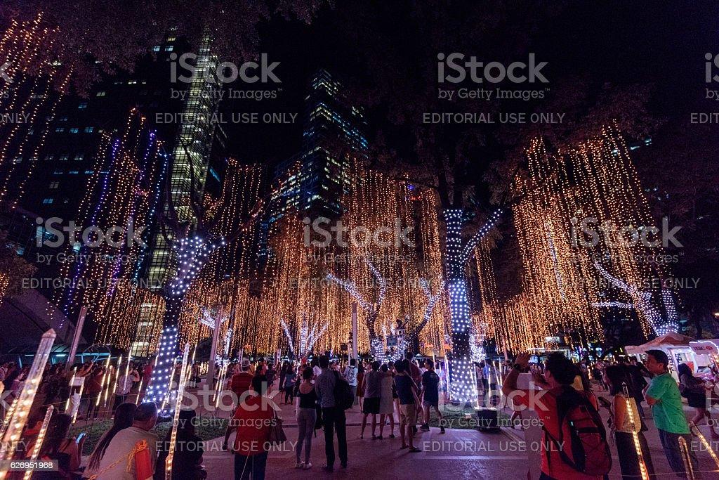 Christmas Lights at Ayala Triangle in Makati, Manila - Philipppines. stock photo