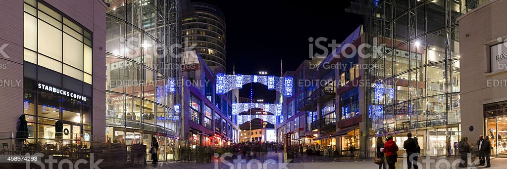 Christmas lights at the Bullring Shopping centre, Birmingham, panorama royalty-free stock photo