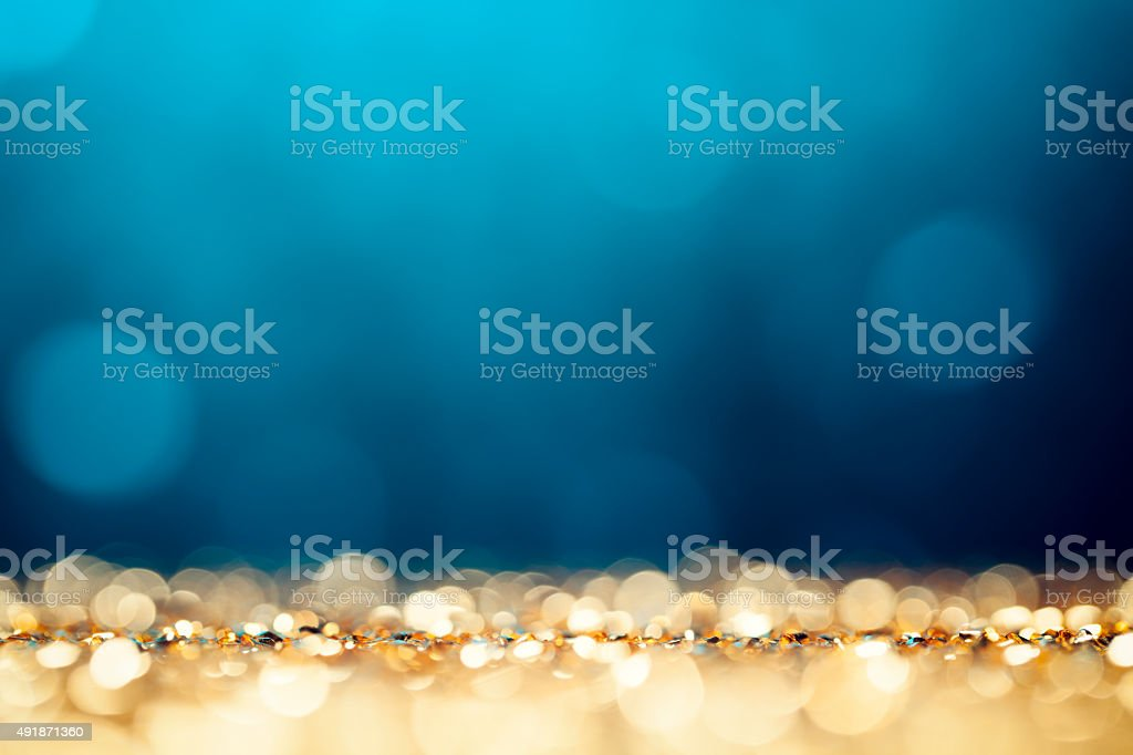 Christmas Lights Background - Bokeh Gold Blue Defocused stock photo