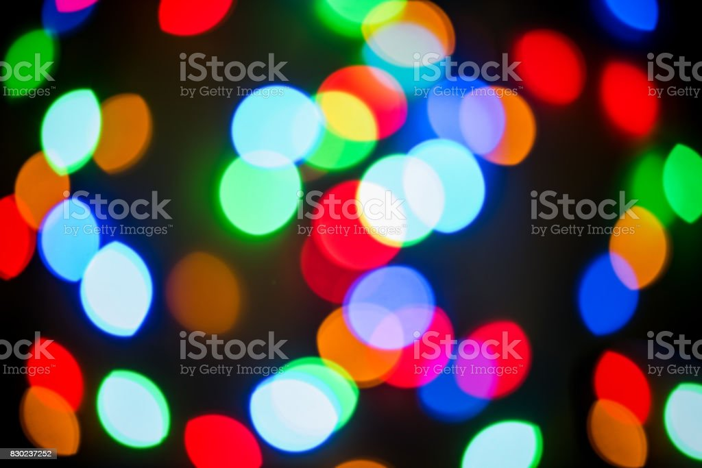 Christmas lights blur, festive colorful background stock photo