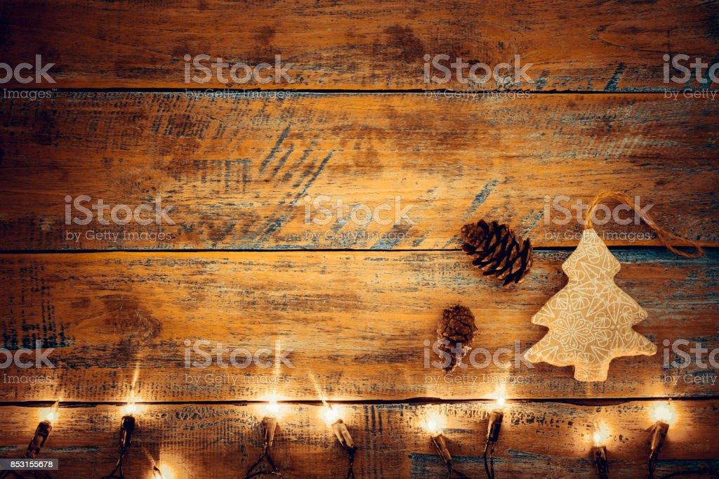 Christmas lights bulb with decoration stock photo