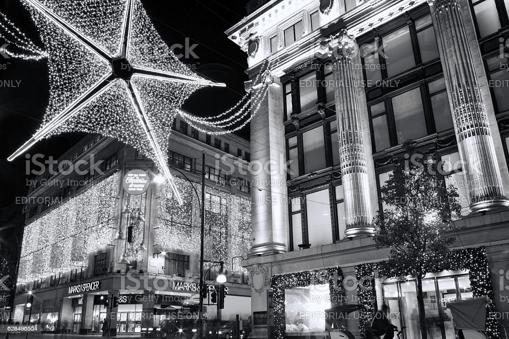Christmas lights decorations in Oxford Street stock photo