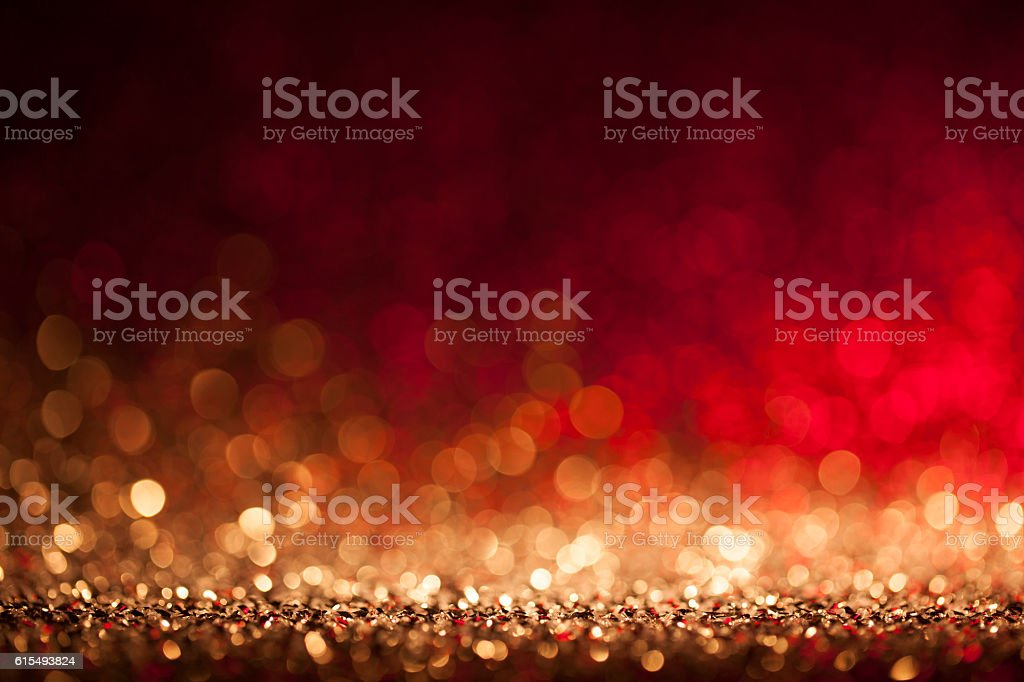Christmas lights defocused background - Bokeh Gold stock photo