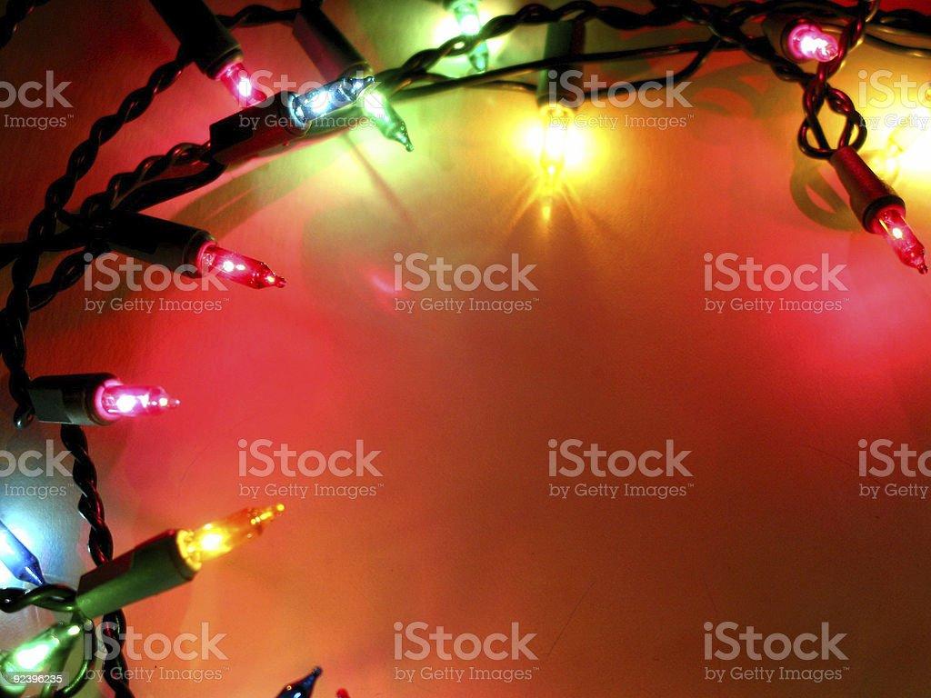 Christmas lights frame 1 stock photo