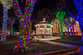 Christmas lights illuminate the downtown Prescott, Arizona town square.