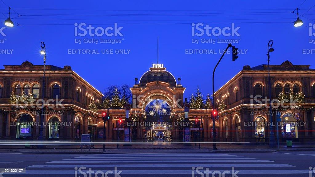 Christmas lights illuminate the main entrance to Tivoli Gardens stock photo