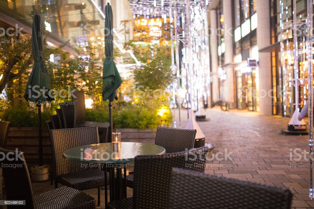 Christmas lights in cityscape stock photo