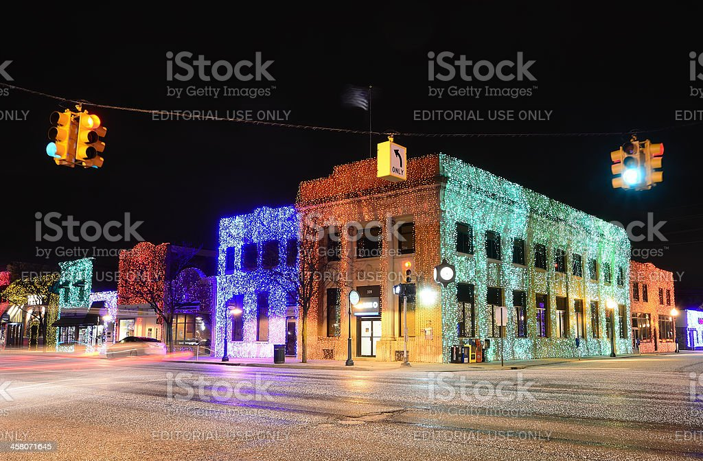 Christmas Lights in Rochester Michigan royalty-free stock photo