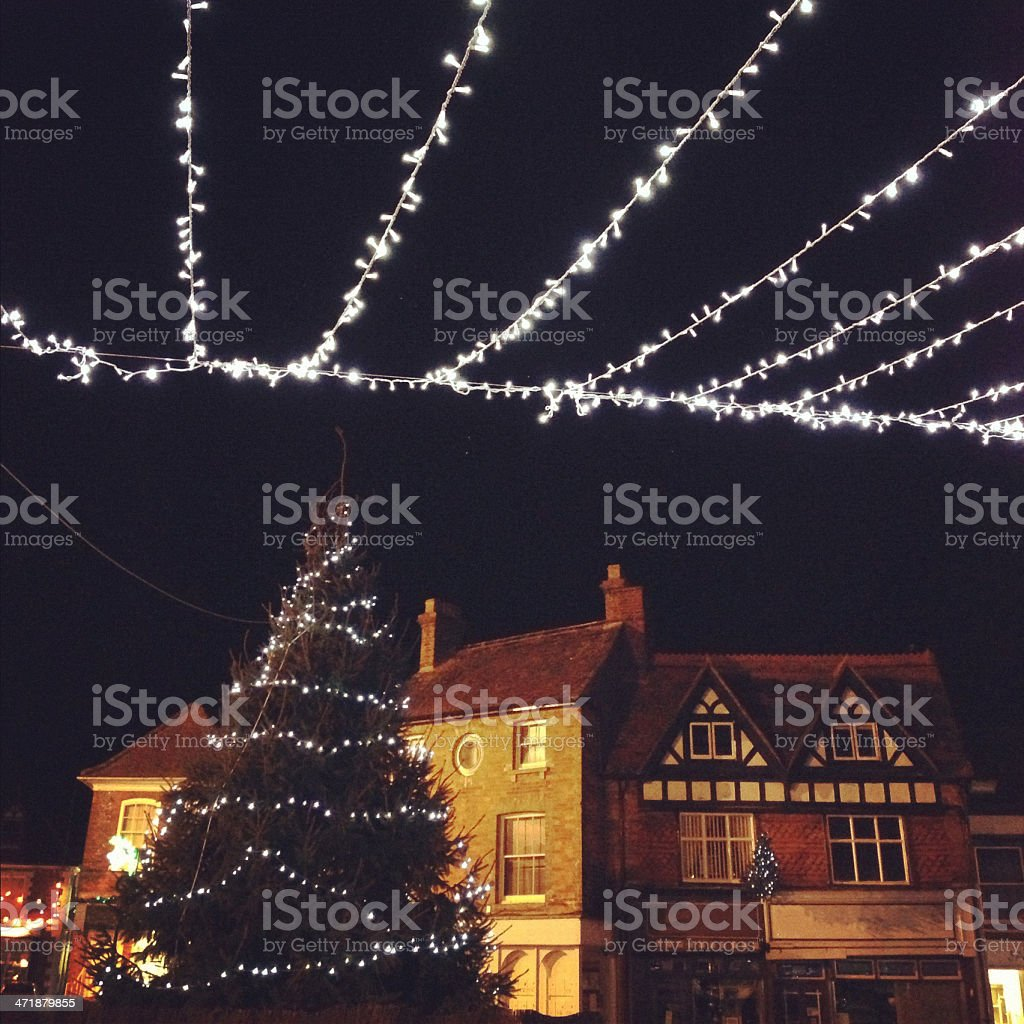 Christmas lights in Town royalty-free stock photo