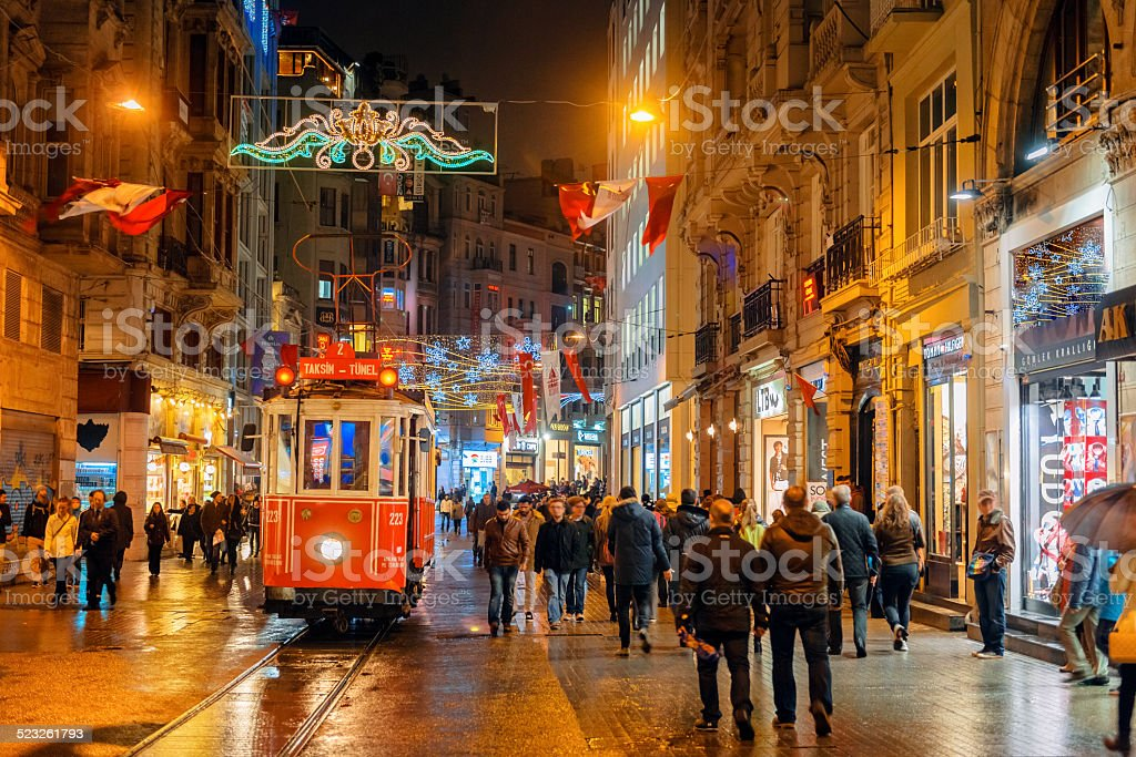 Christmas Lights, National Flags and Tramway in Istanbul, Turkey stock photo