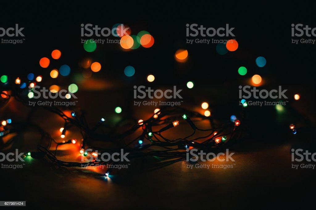 Christmas lights on a black background stock photo