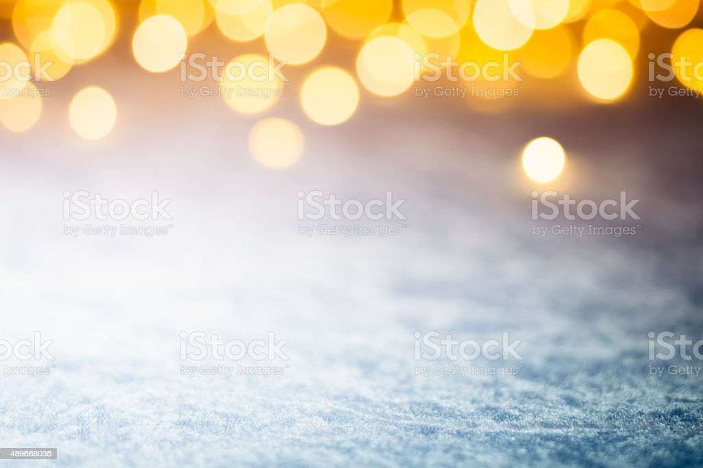 Christmas Lights on frozen blue - Background Bokeh stock photo