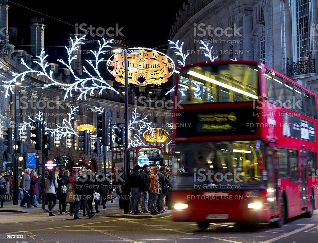Christmas lights on London's Regent Street 2012 royalty-free stock photo