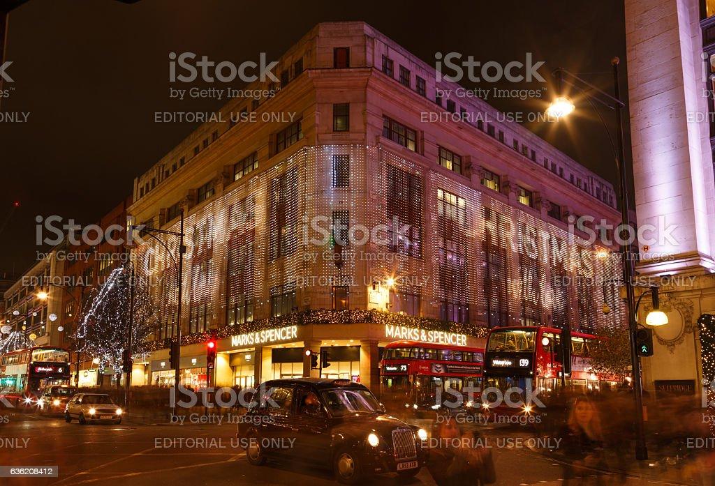 Christmas lights on Marks & Spencer, Oxford Street, London. stock photo