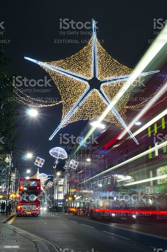 Christmas lights on Oxford Street, London royalty-free stock photo