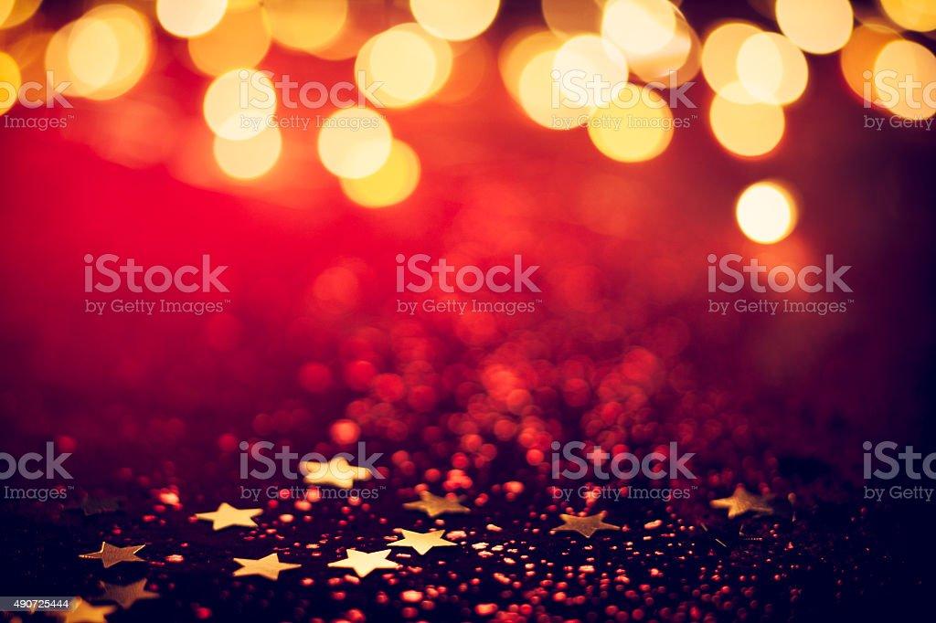 Christmas Lights on Red Glitter - Background Bokeh stock photo