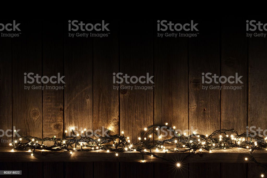 Christmas lights on shelf stock photo