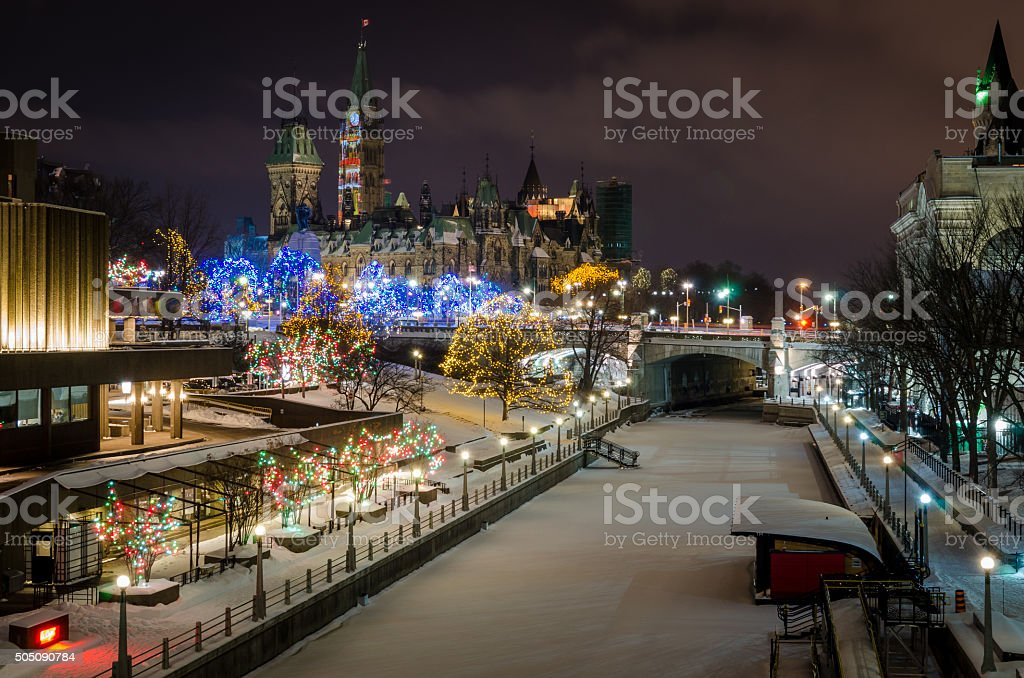Christmas Lights on the Rideau Canal in Ottawa stock photo