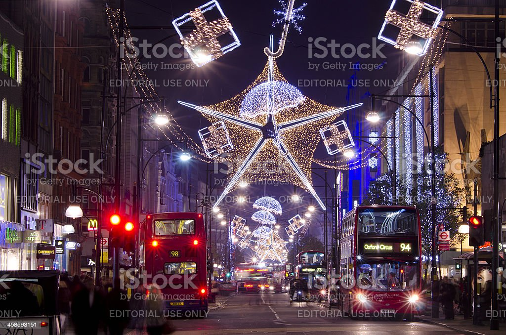 Christmas lights, Oxford Street, London royalty-free stock photo
