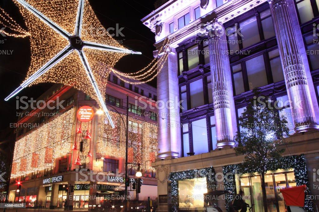 Christmas Lights Oxford Street royalty-free stock photo