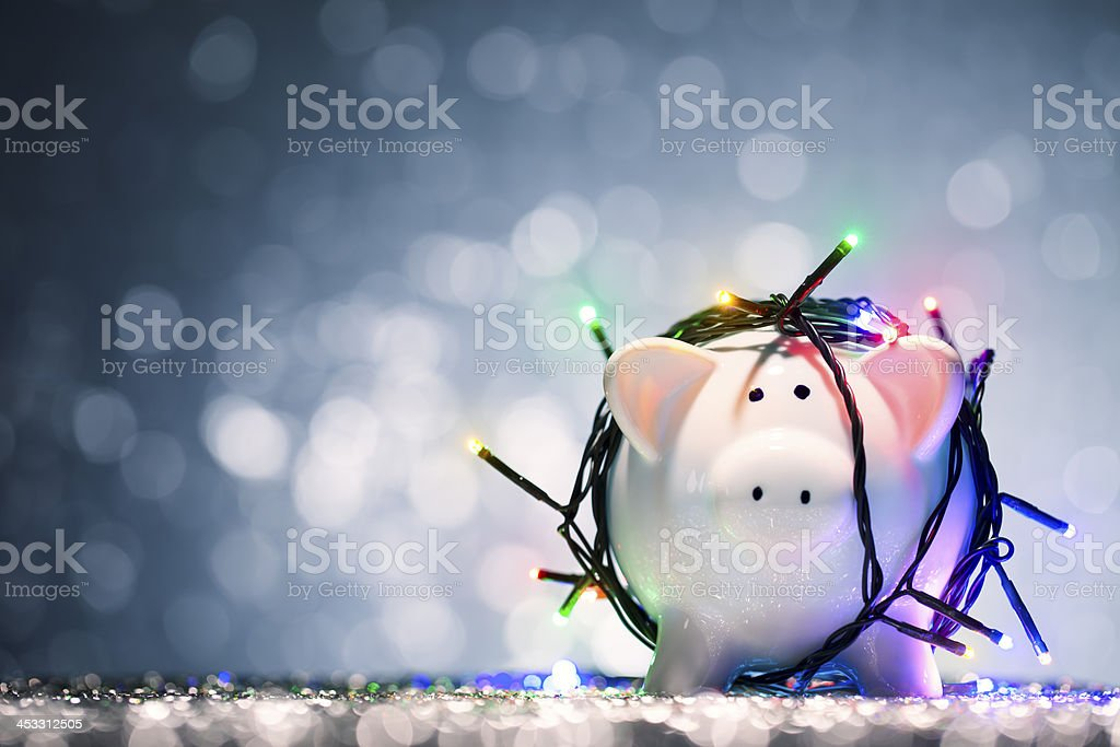 Christmas Lights Piggy Bank stock photo