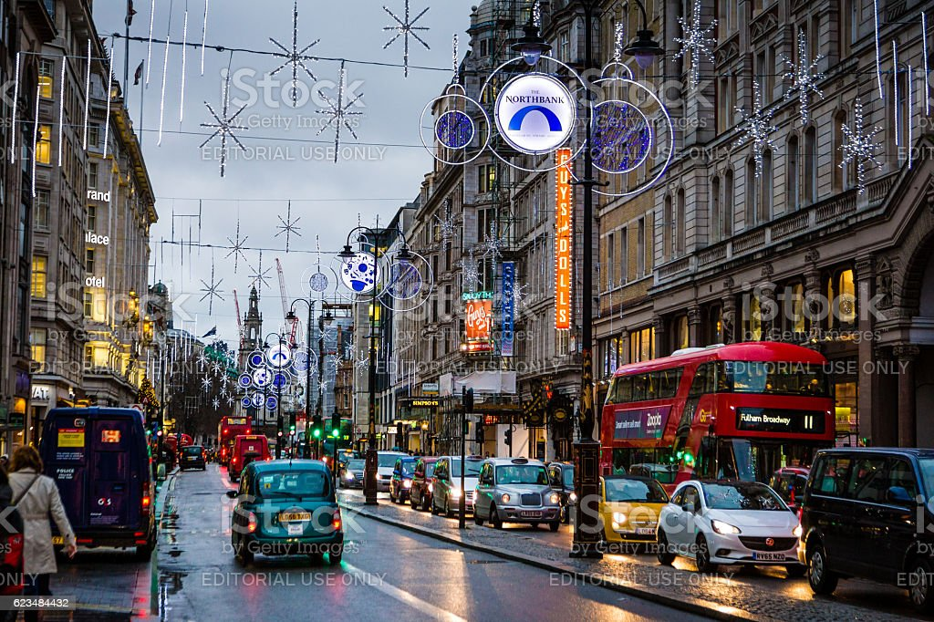 Christmas lights traffic on The Strand, London, UK stock photo
