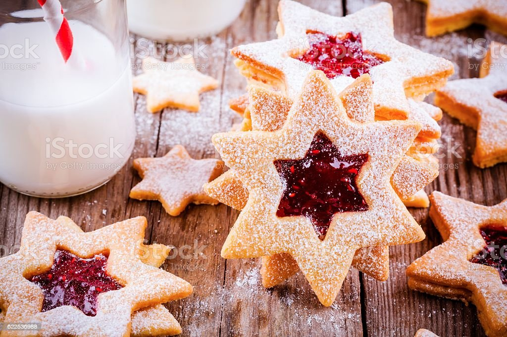 Christmas Linzer cookies with raspberry jam stock photo