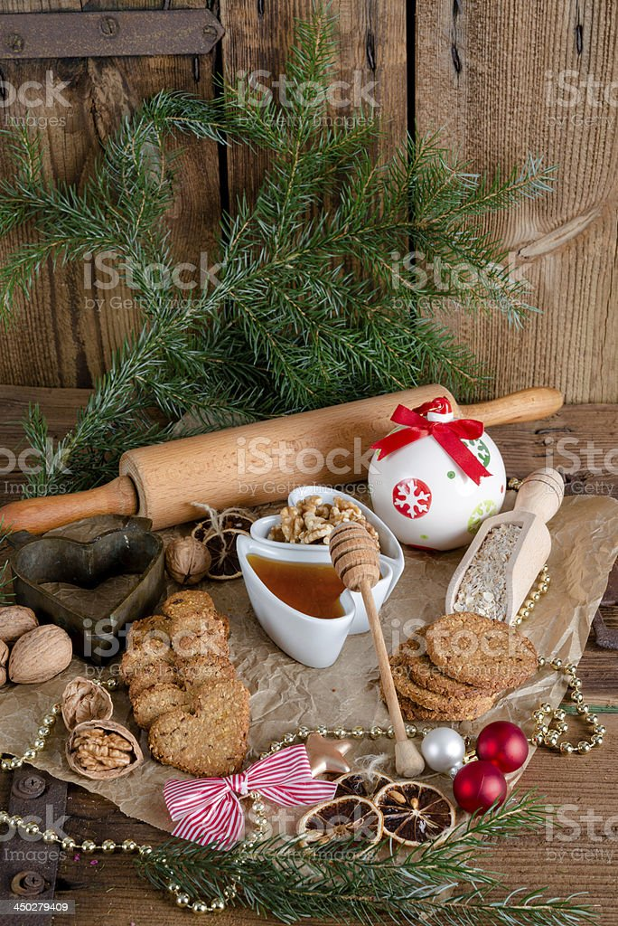 Christmas little places oatmeal stock photo