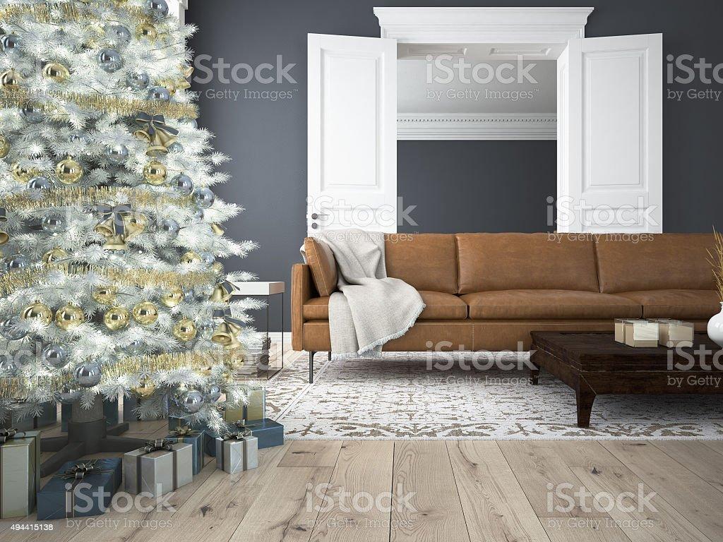 Christmas living room. 3d rendering stock photo