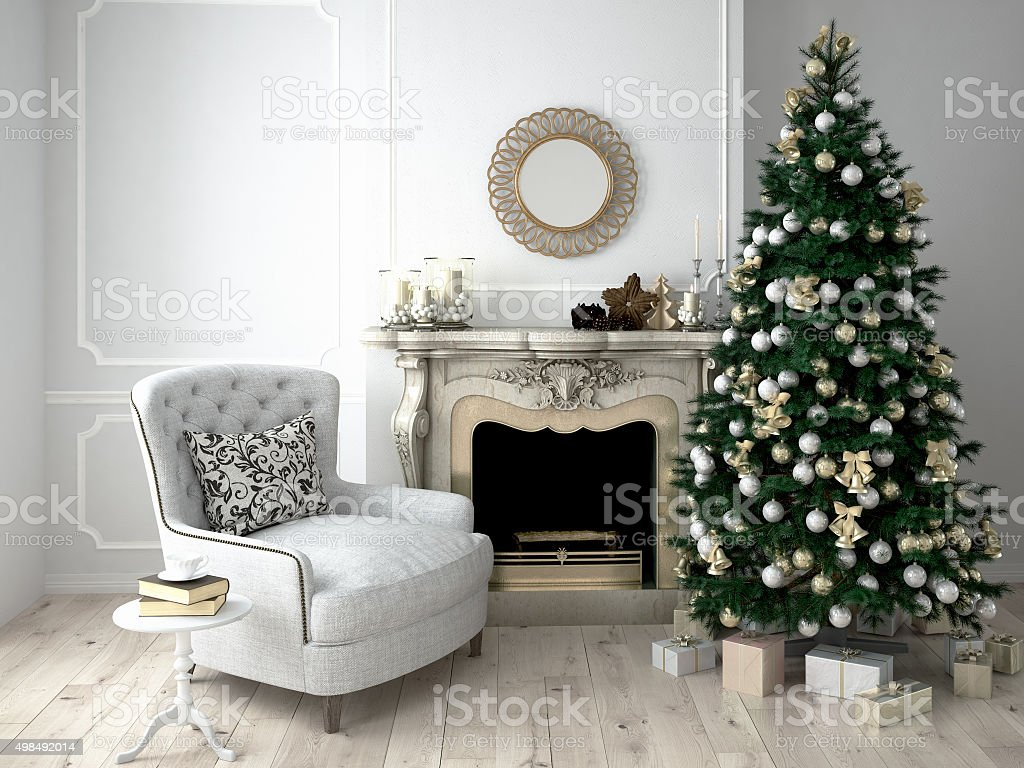 Christmas living room. 3d rendering stock photo