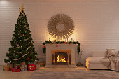 Christmas livingroom with fireplace, tree and presents