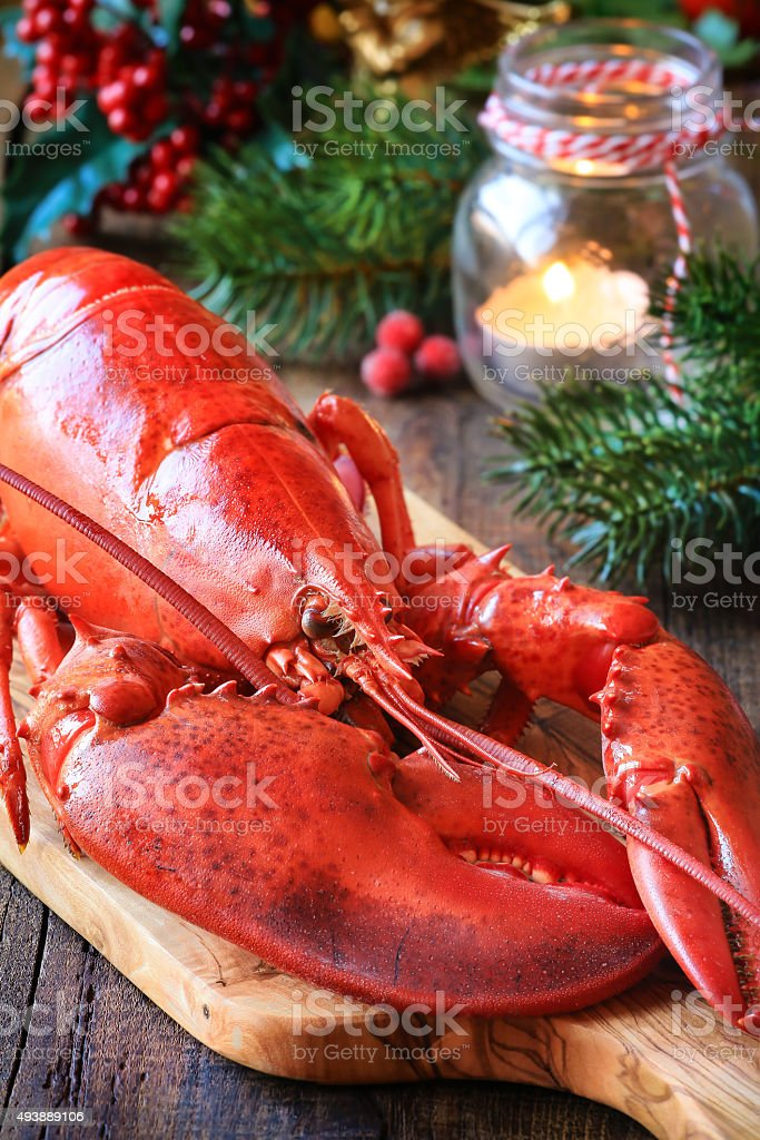 Christmas lobster stock photo