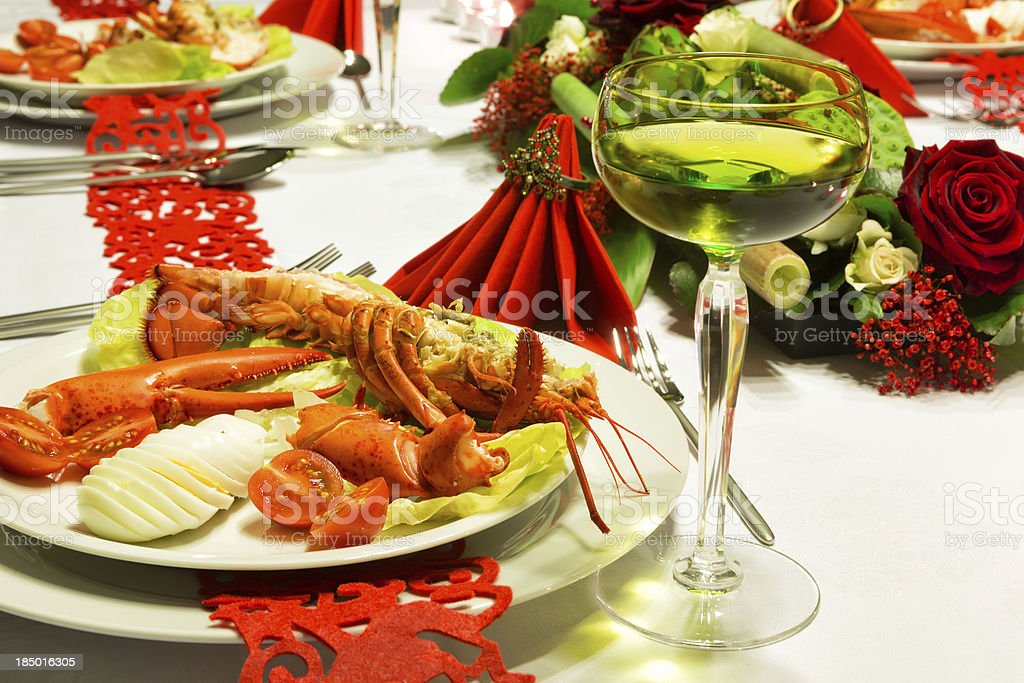 Christmas lobster table royalty-free stock photo