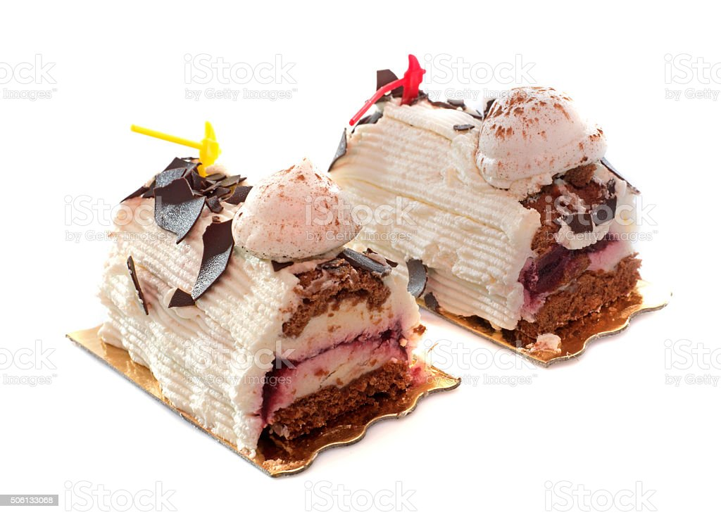 Christmas Log cakes stock photo