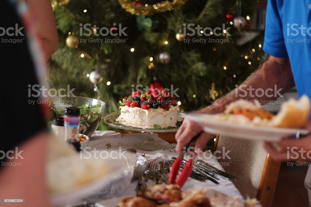 Christmas lunch buffet table and a pavlova stock photo