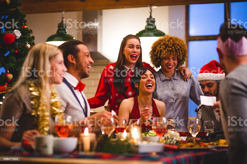 Christmas Lunch with Friends stock photo