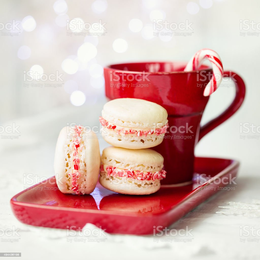 Christmas macarons stock photo