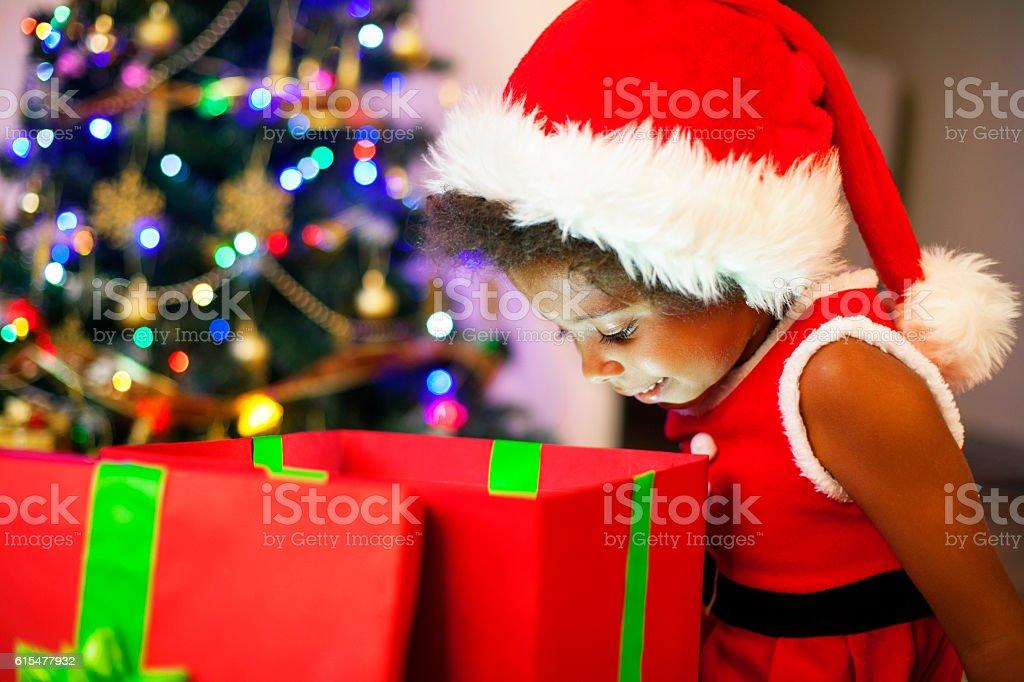 Christmas magic gift box stock photo