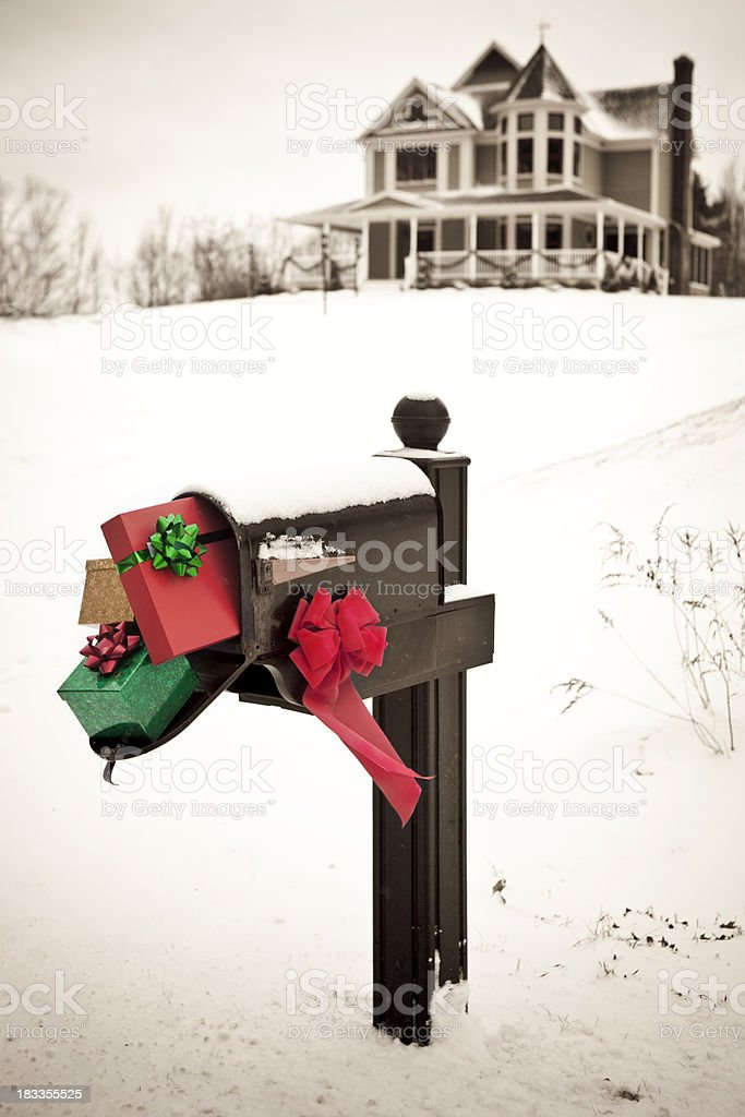 Christmas mailbox stock photo