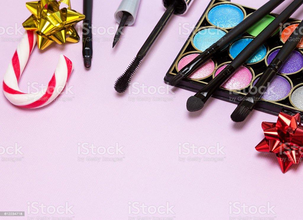 Christmas makeup cosmetics stock photo
