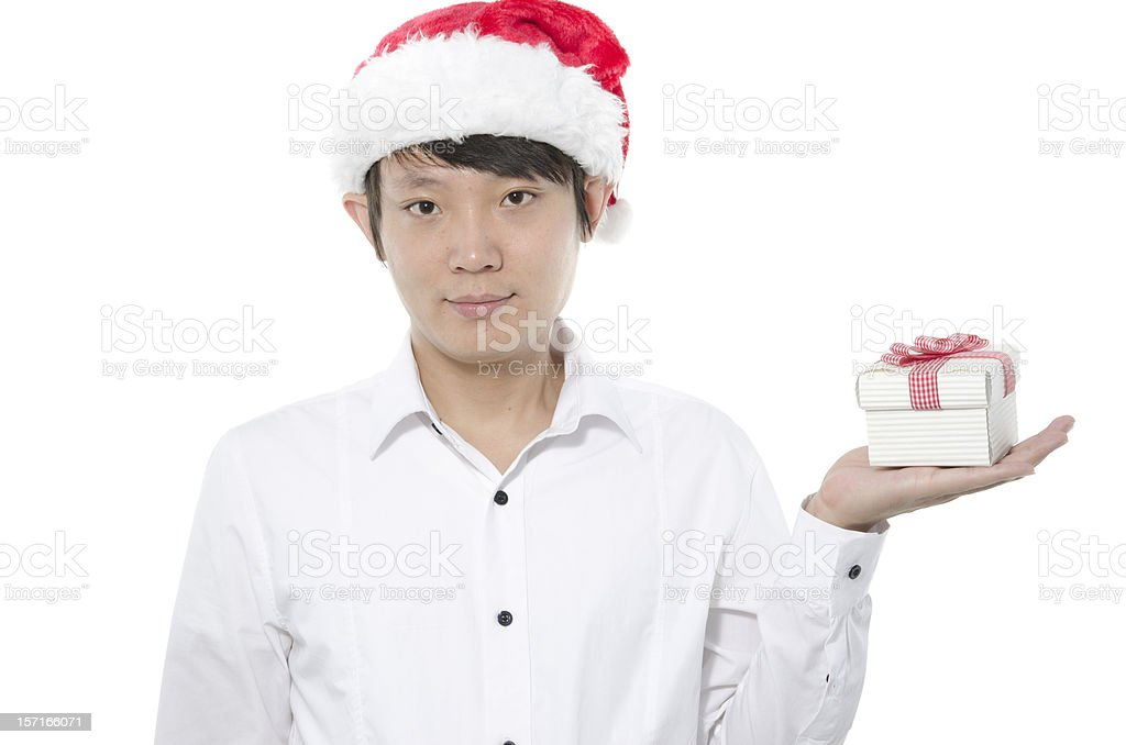 Christmas man with gift smiling royalty-free stock photo