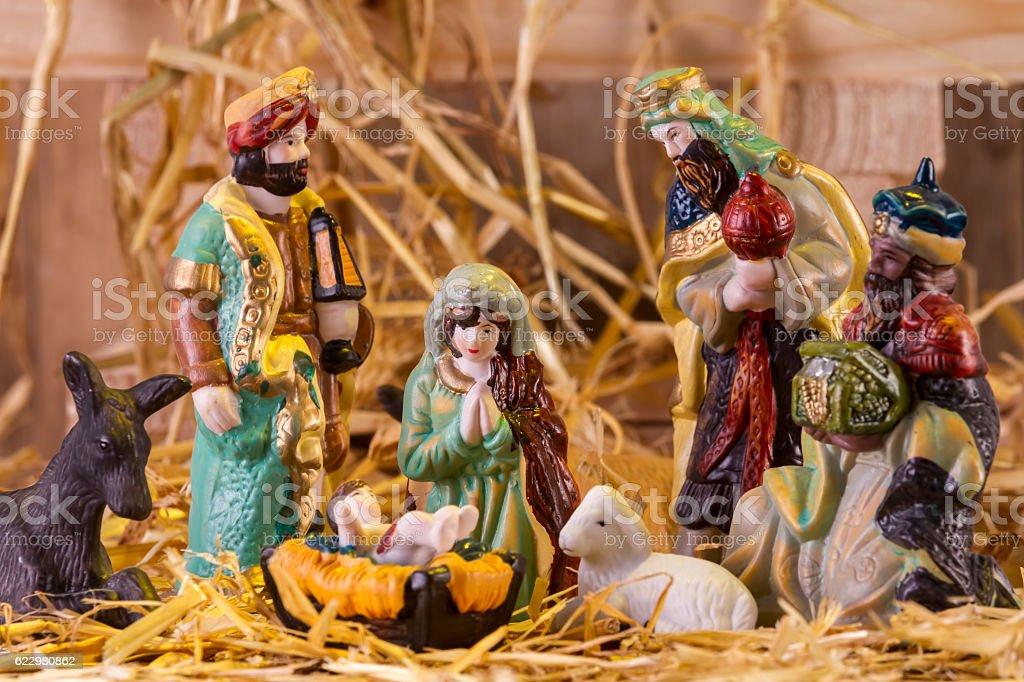 Christmas Manger scene with figurines stock photo