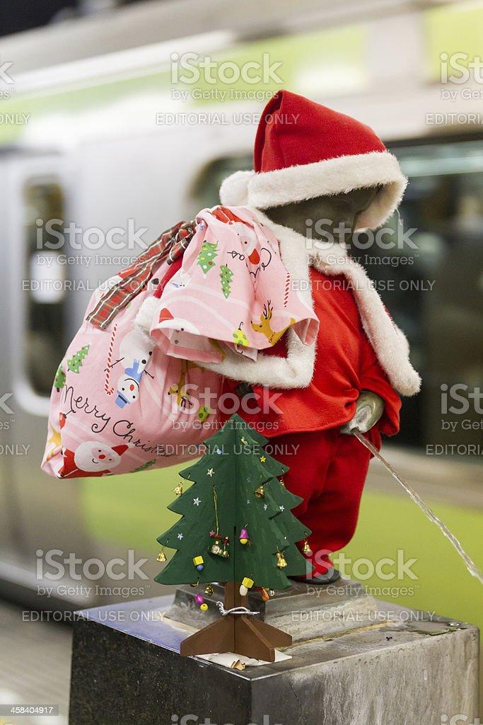 Christmas Manneken Pis in Japan stock photo