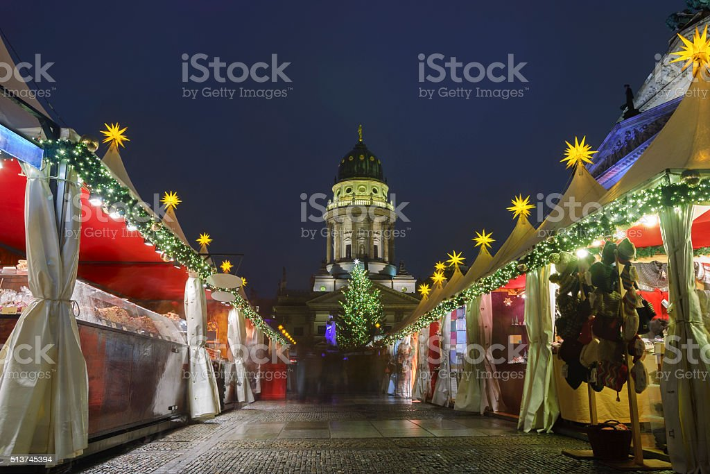 Christmas Market at Gernarmenmarkt Square in Berlin stock photo